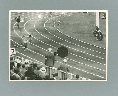 Male athletes at commencement of a track event at the MCG, 1956 Olympic Games