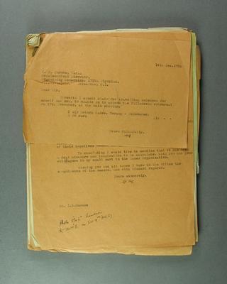 Correspondence regarding LineMaster marking machine, 1956 Olympic Games