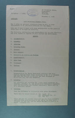 Circular to Athletics Officials at 1956 Melbourne Olympic Games
