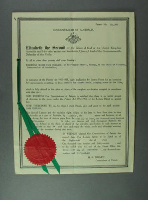 Letters Patent No. 214,920 & Specification, issued to Graeme Page Cleeland on 18 June 1957 re Line marking machine