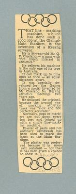 Clipping re line marking machine invented by Graeme Cleeland used at 1956 Melbourne Olympic Games