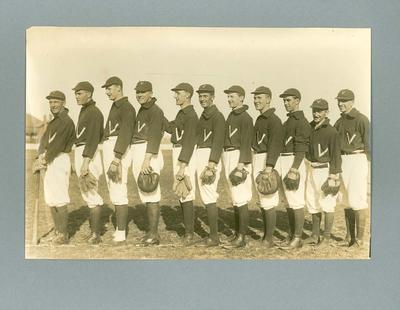 Photograph of Victorian baseball team, undated; Photography; 1985.13.4.4