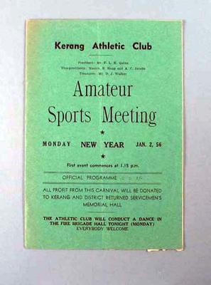 Programme - Kerang Athletic Club Amateur Sports Meeting Monday 2 January 1956; Documents and books; 2004.4123.48