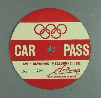 Car pass No. 729 issued to Graeme Cleeland, 1956 Olympic Games; Transport; 2004.4123.51