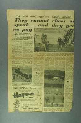 """Newspaper clipping, """"The Men who keep the Games Moving"""" - 1956 Olympic Games; Documents and books; 2004.4123.54"""