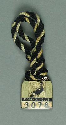 Membership medallion, Collingwood Football Club 1979