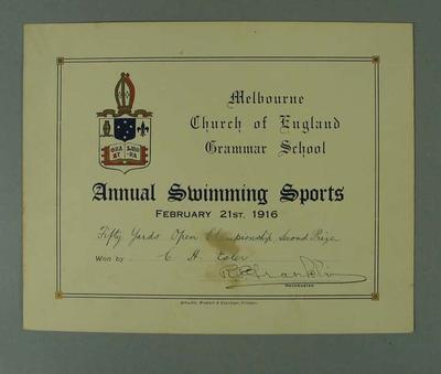 Certificate presented by Melbourne Church of England Grammar School, certifying that CH Esler finished second place in the Fifty Yards Open Championship on 21 February 1916; Documents and books; 1986.699.8