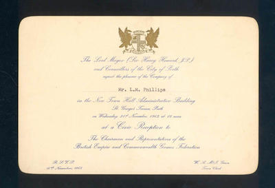 Invitation to Mr. L. M. Phillips from the City of Perth - Civic Dinner, 21 November 1962