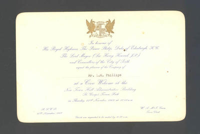 Invitation to Mr. L. M. Phillips from the City of Perth - Civic Welcome,  22 November 1962; Documents and books; 1986.1267.5