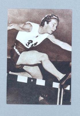 Photograph of Shirley Strickland hurdling, c1947-60