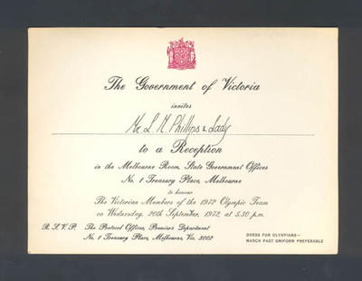 Invitation from The Government of Victoria to Mr. L.M. Phillips - Reception  - 20 September 1972; Documents and books; 1986.1267.7