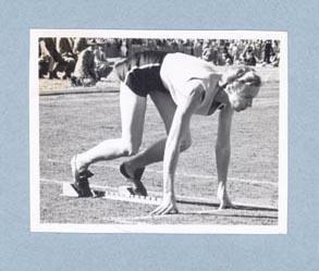 Photograph of Shirley Strickland on starting blocks, c1947-60