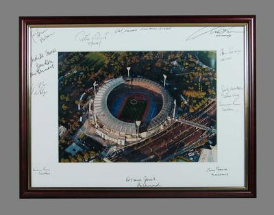 Framed colour aerial photograph  of the Melbourne Cricket Ground, autographed at Inaugural No. 1 Ticketholders' Luncheon, 15 September 2006