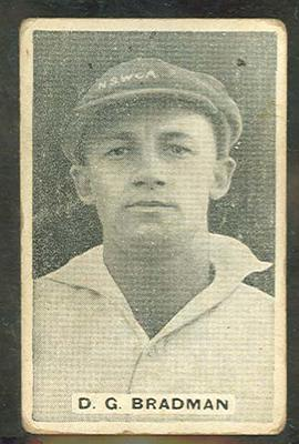 1932/33 Sweetacres Cricketers D G Bradman trade card