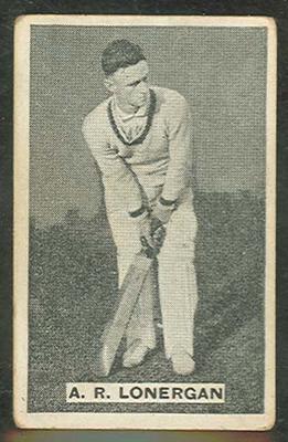 1932/33 Sweetacres Cricketers A E Lonergan trade card