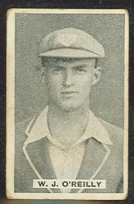 1932/33 Sweetacres Cricketers W J O'Reilly trade card; Documents and books; M12698.26