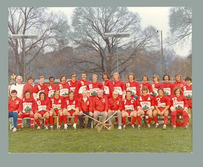 Colour photograph of the Canadian Lacrosse Team at Olympic Park in 1974.
