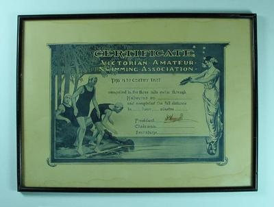 Certificate awarded to Les Phillips, Victorian Amateur Swimming Association 3 mile swim - 2 Mar 1929