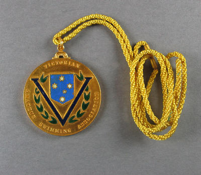 Gold medal and cord, Victorian Amateur Swimming Association; Trophies and awards; 1986.1250.6