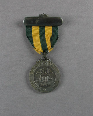 Medal and bar, Amateur Swimming Union of Australia - 50th Anniversary Carnival, 1959; Trophies and awards; 1986.1250.5