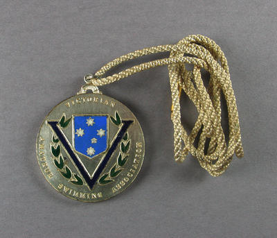 Silver medal and cord, Victorian Amateur Swimming Association; Trophies and awards; 1986.1250.7
