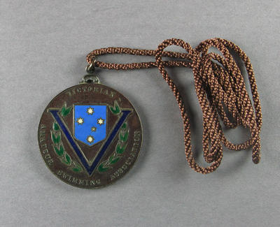 Bronze medal and cord, Victorian Amateur Swimming Association; Trophies and awards; 1986.1250.8