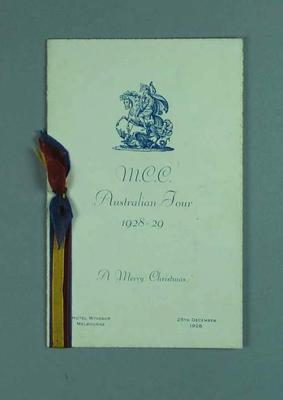 Menu for MCC Australian Tour dinner at Windsor Hotel, 25 Dec 1928
