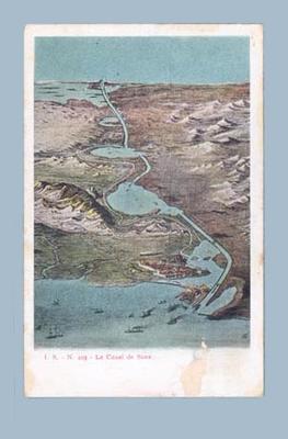 Postcard, depicts Suez Canal