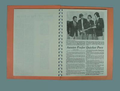 Spiral bound orange booklet - Australian Lacrosse Team tour 1976 - photocopy newspaper clippings and match result; Documents and books; 1986.1222.2