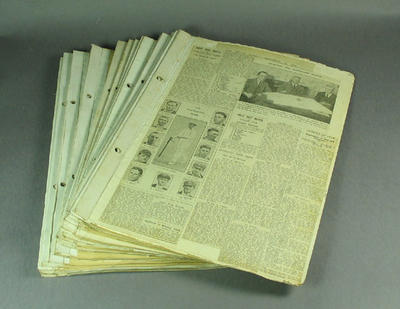 Scrapbook pages, contain newspaper clippings related to cricket c1924-25; Documents and books; M12730.2