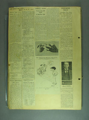 Scrapbook, contains newspaper clippings related to cricket c1925; Documents and books; M12730.3