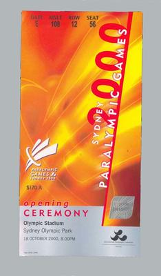 Ticket for 2000 Sydney Paralympic Games opening ceremony, 18 Oct