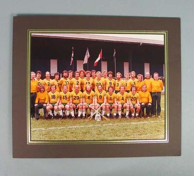 Colour team photograph in brown card mount - Lacrosse players, Manchester, England 1978; Photography; 1986.1223.1