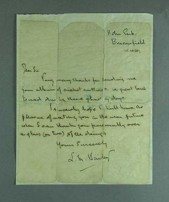 Letter regarding loan of cricket newsclipping scrapbooks, 15 Oct 1941; Documents and books; M12736