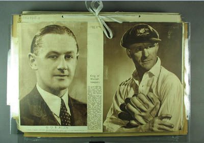 Scrapbook, contains newspaper clippings related to cricket c1936-37