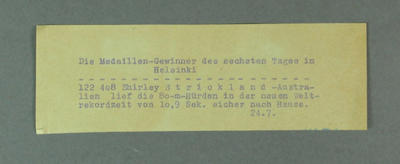 Photograph label in German, describes 80m hurdles race at 1952 Olympic Games