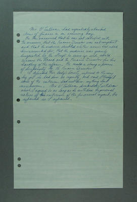 """Handwritten note about """"Mr O'Sullivan"""" & """"Finance Director"""", c1947-60"""
