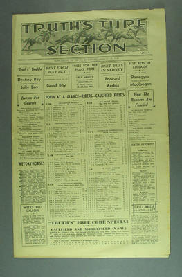 """Newspaper supplement, """"Truth's Turf Section"""" - 13 Aug 1938; Documents and books; M12735.3"""