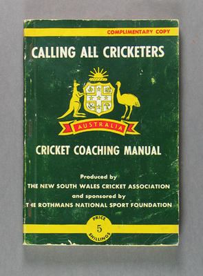 'Calling All Cricketers' Cricket Coaching Manual produced by NSW Cricket Association