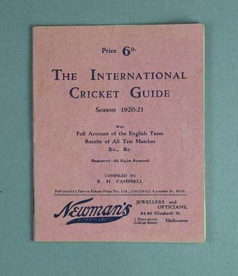 """Booklet, """"The International Cricket Guide 1920-21""""; Documents and books; M12720"""