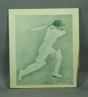 Print, depicts Don Bradman batting; Artwork; M12726