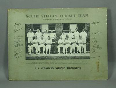 Photograph of South African cricket team in Australia, 1931-32; Artwork; Photography; M12727