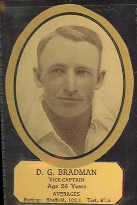 Card cut-out depicting D G Bradman, c1934; Documents and books; M12719.5