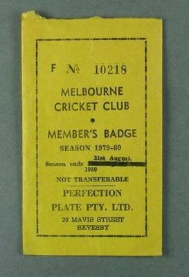 Envelope for Melbourne Cricket Club member's badge, season 1979-80