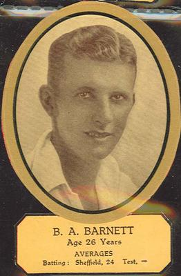 Card cut-out depicting B A Barnett, c1934