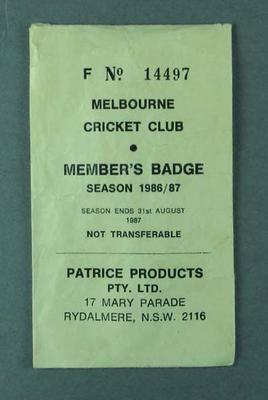 Envelope for Melbourne Cricket Club member's badge, season 1986-87