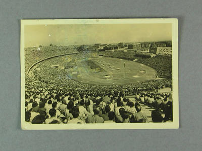 Postcard with image of full sporting stadium, sent to Shirley Strickland c1947-60