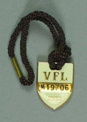 Medallion for VFL Park member, season 1979