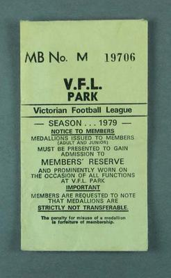 Envelope for VFL Park member's badge, season 1979