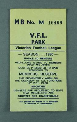 Envelope for VFL Park member's badge, season 1980